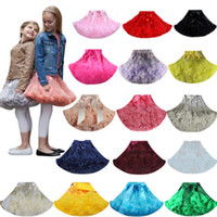 Wholesale Satin Ruffle Baby Dress - Girls Tutu Skirts Pettiskirt Baby Kids Short Dancing Skirt Lace Tulle Fluffy Satin Ribbon Bow Princess Dancewear Ballet Dress Costume LG1983
