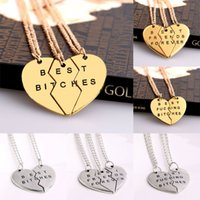 Wholesale Heart Bff Necklaces - Wholesale-2 3 PCS Broken Heart Pendant Necklace Gold Silver Plated Best Friends BFF Necklace Women Men Statement Jewelry Friendship Choker