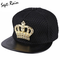 Atacado- [Sept.Rain] 2017 Novo Fashion Crown Metal Logo Snapback Chapéu Bone Com Diamante PU Leather Snapback Hip hop Baseball Caps Hat