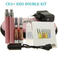 Wholesale Ego T Double Pack - eGo-T CE4+ Plus Double kit Zipper ego case packing E-cigarette kit CE4 plus rebuildable atomizer ego T battery