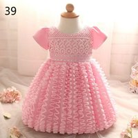 Wholesale Tutu Dress Colours - Baby Girls Christening Gown Lace Flower Bow Princess Ball Gown First Birthday Party Dresses Kids Clothes 0-2Y RC00301F