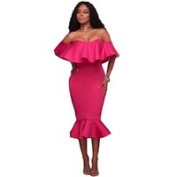 XXL Летние женщины с плеча платья Vintage Ruffle Sexy Bodycon Dress Club Wear Tight Wrap Party Dresss Русалка Midi Party Dress S61486