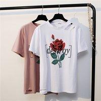 Wholesale Joker Collared Shirt - New Summer Women T Shirt Easing Roses O-collar Short Sleeve T-shirt Female Joker Hole Base Shirt Loose Casual Tops Tees
