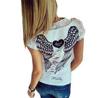 Wholesale Cutting Lasers For Sale - Wholesale-Hot sale Angel Wings Print Lace Patchwork T shirts For Women Back Laser cut Hollow out Short Sleeve Tops 2015 New QL1764