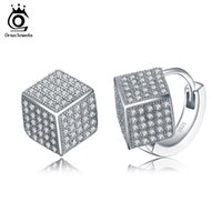 Wholesale Sterling Silver Fashion Jewerly - Sterling Silver 925 Solid Earrings for Women Fashion Jewerly Stud Earring with Square Shape Shiny Austrian CZ SE22
