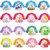 Wholesale Child Cloth Bibs - Baby Toddler Cartoon Waterproof Long Sleeve Bibs Children Kids Feeding Smock Apron Eating Clothes Burp Cloths Over 20style choose free ship