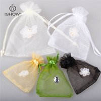 Wholesale Gauze Jewelry Bags - 100pcs Organza Jewelry Bags Packaging Pouches Gifts Drawstring Gauze Sticky flowers Cute Christmas Presents Friend Gifts