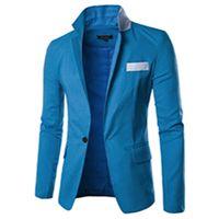 Wholesale Korean Fashion Men S Cardigan - Wholesale- Spring Hot New Men Korean Fashion Spell Color Pocket Basic Models Wild Single Breasted Cardigan Jacket Business