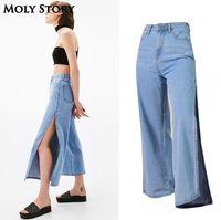 Streetwear New Side Slit Wide Leg Jeans Women Casual Loose Ladies High Waist Jeans Plus Size Denim Pants