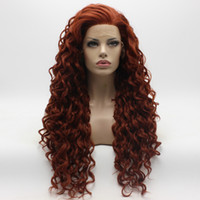 Wholesale Burgundy Long Half Wig - Iwona Hair Curly Long Burgundy Wig 18#350 Half Hand Tied Heat Resistant Synthetic Lace Front Wig