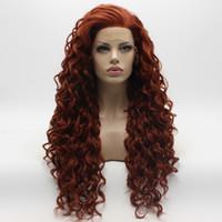 ingrosso mezza parrucca riccio burgundy-Iwona Hair Curly Long Burgundy Wig 18 # 350 Parrucca anteriore in pizzo sintetico resistente al calore, legata a metà mano