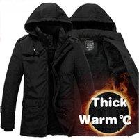 Wholesale Men Jacket Parkas - Wholesale- New Fashion Winter Men Thickening Casual Cotton Jacket Outdoors Waterproof Windproof Breathable Coat parka plus size 2017 jacket