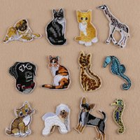 Wholesale Wholesale Embroidered Dog Patches - Iron On Patches DIY Embroidered Patch sticker For Clothing clothes Fabric Badges Sewing sea horse dog cat design