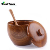 Venta al por mayor-Visual Touch Naturaleza Madera Madera Azúcar Jar con tapa con cuchara Spice Bowl Salt Container