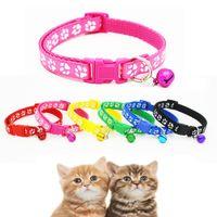 Wholesale kitten collars bells - 10x Lovely Small Footprint With Bell Pet Collar Nylon Fabric Cat Kitten Dog Puppy