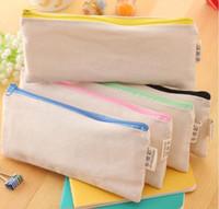 Wholesale Clutch Bag Blank - 20.5*8.5cmDIY White canvas blank plain zipper Pencil pen bags stationery cases clutch organizer bag Gift storage pouch A08