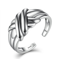 Wholesale Rings Men 925 - 100% Genuine 925 Sterling Silver Finger Ring Women Men Cross Braided Knot Stackable Adjustable Rings Fine Jewelry VSR002