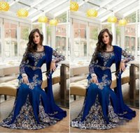 Wholesale Short Sleeve Ruched Mermaid - 2016 New Royal Blue Luxury Crystal Muslim Arabic Evening Dresses With Applique Lace Abaya Dubai Kaftan Long Plus Size Formal Evening Gowns