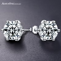 Wholesale Samples For Earrings - ANFASNI Fashion Sample Design Pure 100% 925 Sterling Silver Stud Earrings Cubic Zirconia Jewelry For Women Luxury Gift SER0014