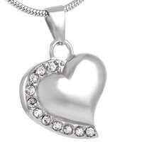 Wholesale Heart Necklaces For Cheap - IJD8018 Wholesale Cheap CREMATION NECKLACE,316l Stainless Steel Crystal Heart Memorial Urn Keepsake Pendant Cremation Jewelry for Ashes