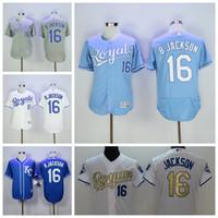Wholesale Royal Blue Baseball Uniforms - 1985 Cooperstown 16 Bo Jackson Jersey Men KC Kansas City Royals Baseball Jerseys Jackson Uniforms Throwback Blue Gold White Pullover Quality