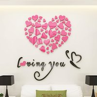 Wholesale Romantic Wall Stickers - Romantic style Wall Decals DIY Mirror Combination Personalised Wall Stickers Acrylic Material Home Bedroom Wall Stickers