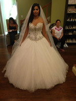 Wholesale Princess Chest - 2017 new strapless formal A-line wedding dresses sexy chest nets stitching beaded Crystal wedding church long tail bride wedding dress