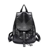 Wholesale School Bags Girls Leather - Genuine Leather Backpack Large Capacity Rivet Black Shoulder Bag Women Casual Backpack Teenage Girls School Travel Bags