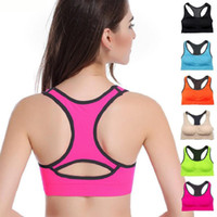 Wholesale Unique Sweats - Wholesale Professional Women Absorb Sweat Top Athletic Vest Running Gym Fitness Sports Bra Unique Back Rims Wireless Sports Bra
