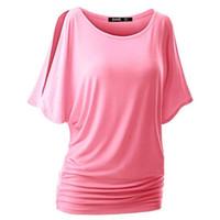 хлопок футболка ватин оптовых-Оптовая продажа-хлопок повседневная женщины свободные рубашки Bat рукавом короткие футболки повседневная тонкий топы летняя одежда S-XL