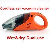 Wholesale Car Cordless - Wholesale-Free Shipping high power car vacuum cleaner wet dry dual-use cordless car vacuum cleaner 12V, 60W Orange