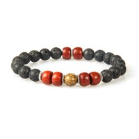 Wholesale Men Ring Design Stone - New Designs Wood Jewelry Wholesale 10pcs lot 8mm Lava Rock Stone with Natural Red Wood Beaded Bracelet for men