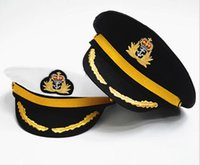 Wholesale Costume Performing Stage - Men Women Cotton Sailor Captain Hat Uniforms Costume Party Cosplay Stage Perform Flat Navy Military Cap for Adult and Children 5pcs lot