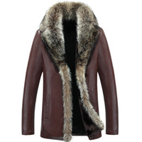 Wholesale Jaqueta Couro Masculino - Wholesale- 2017 Men's Leather Jacket Faux Lambswool Leather Jacket Men Thick Raccoon Fur Collar Jaqueta Couro Masculino Plus Size 5XL