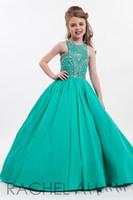 vestidos de gasa fucsia al por mayor-2017 nuevos vestidos del desfile de las muchachas Hunter Teal Fuchsia Chiffon Crystal Beaded Long Kids Flower Girls Dress Vestidos de fiesta Vestidos de cumpleaños baratos