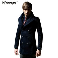 Wholesale Wool Coating Fabric Men - Wholesale- 2016 New Winter Coat Men Fashion Long Style Double Breasted Cotton Fabric Wool & Blends Hot Selling DY25-P125