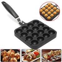 Wholesale Home Handle - Wholesale- 16 Holes Takoyaki Grill Pan Plate Mold Octopus Ball Maker With Handle Home Cooking Baking Decorating Tools Kitchen Accessories