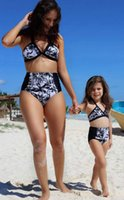 Wholesale Kids Floral Swimsuits - 2017 Family Matching Outfits Mother And Daughter Summer Swimsuit Kids Parent Child Floral Swimwear