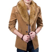 Wholesale Wool Overcoats Men Long - Wholesale- New Mens Pea Coat 2015 Fashion Design Fur Collar Mens Slim Fit Wool Blend Trench Coat Jacket Brand Stylish Overcoat Peacoat XxxL