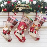 Wholesale Cloth Gift Wrap - Multi Color Christmas Stocking Cute Christmas Decoration Santa Claus Socks Christmas socks wrapping gift bag free shipping