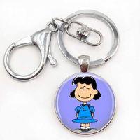 charakter cabochon großhandel-Lucy Schlüsselanhänger The Peanuts Schmuck Charlie Brown Character Schlüsselanhänger Glas Cabochon Weihnachtsgeschenk für Frauen für Männer