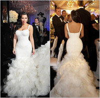 Wholesale Spaghetti Straps Organza - 2017 Mermaid Wedding Dresses Mermaid Modest Cascading Ruffles Spaghetti Straps Country Bridal Gowns With Long Train