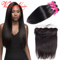 New Arrival 3 Bundles Kinky Straight Hair Malásia Com Lace Frontal Hair Hair Closure Wet And Wavy 13 * 4 Baby Hair Lace Frontal