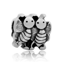 Wholesale European Bird Beads - comejewelry Bee,Deer,Elephant,Monkey,Love Bird,Goat,Bear Stainless Steel Beads Fit Pandora European Style Bracelet DIY Jewelry Accessories