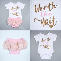 Wholesale Wholesale Lace Romper Pants - Baby Girls Letter Rompers+Lace Briefs Set Summer Euro America 0-3T Infant Toddlers Girls Short Sleeves Romper+Pants 2 Pieces Set