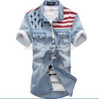 Wholesale Long Sleeve American Flag Shirt - Wholesale- 2016 New vintage men's fashion American Flag denim shirt short sleeve light blue jeans shirt free shipping Top quality