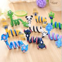 Wholesale Cord Winder For Mp3 - Cute Cartoon Earphone Wire Cord Cable Winder Organizer Holder for iPhone Samsung Tablet MP3 MP4 Electric winding thread tool 50pcs