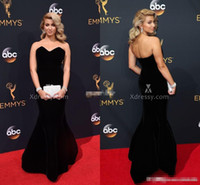 Wholesale Cheap Award Dresses - Sweetheart Mermaid Velvet Evening Gowns Long 2016 68th Annual Emmy Awards Tori Kelly Celebrity Red Carpet Dresses Backless Prom Dress Cheap