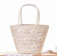 Wholesale Large Handmade Flowers - sales brand package New Handmade Embroidery Flower handbag fashion large capacity embroidery Daisy woven bag summer holiday beach bag