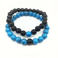 Wholesale Natural Blue Stones - 2017 Wholesale Handmade Blue stone matte yoga set Buddha Beads Natural Stone Volcanic Rock Bracelets for Men Women Jewelry